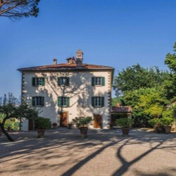 Palazzo Rosadi: The historic villa and the approach to it, Monterchi, Tuscany