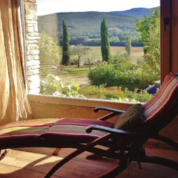Poggiodoro: View of the Tuscan valley from the sunset lounge